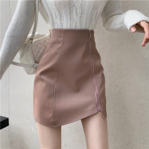 skirt Autumn 2020 S,M,L Lotus, black Short skirt commute High waist A-line skirt Solid color Type A 18-24 years old 30% and below Other / other zipper Korean version