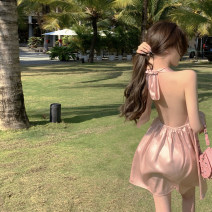 Dress Summer 2021 Fairy powder Average size Short skirt singleton  Sleeveless commute V-neck High waist Solid color Socket other other Hanging neck style 18-24 years old Type A Other / other Korean version