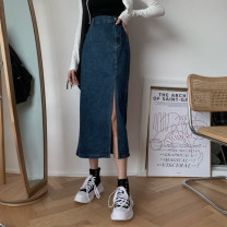 skirt Summer 2021 S,M,L Blue, black Mid length dress commute High waist A-line skirt Type A 18-24 years old Other / other Korean version