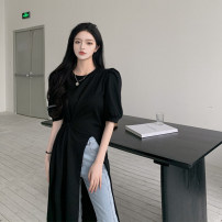 Dress Summer 2021 White, black Average size Mid length dress singleton  Short sleeve commute Crew neck High waist Solid color Socket other puff sleeve Others 18-24 years old Type A Other / other Korean version