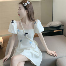 Dress Summer 2021 white S,M,L Middle-skirt singleton  Short sleeve commute square neck High waist other A-line skirt puff sleeve Others 18-24 years old Type A Other / other Korean version