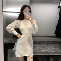 Dress Winter 2020 Apricot white, dark at night Average size Short skirt singleton  Long sleeves commute V-neck Elastic waist other Others 18-24 years old Type A Other / other Korean version nylon
