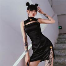 Dress Autumn 2020 black S,M,L Short skirt singleton  street High waist 18-24 years old Sisjuly D1738601 91% (inclusive) - 95% (inclusive) polyester fiber hippie