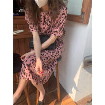 Dress Spring 2021 Pink Leopard S,M,L Mid length dress singleton  Short sleeve commute Crew neck High waist Leopard Print Socket puff sleeve 18-24 years old other
