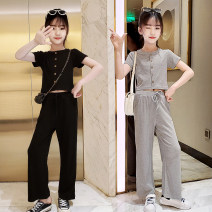 suit Other / other Black, gray 120cm,130cm,140cm,150cm,160cm,170cm female summer Korean version Short sleeve + pants 2 pieces Thin money There are models in the real shooting Single breasted nothing Solid color elder Giving presents at school Class B Chinese Mainland Zhejiang Province Huzhou City