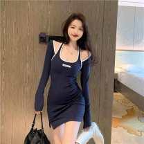 Dress Autumn 2020 blue S, M singleton  Long sleeves commute High waist Socket routine 18-24 years old Ezrin Korean version 51% (inclusive) - 70% (inclusive)