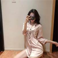 shirt Blue, pink Average size Autumn of 2019 other 30% and below elbow sleeve commute Medium length other Single row multi button routine Solid color 18-24 years old Straight cylinder Other / other Korean version J7AO9hrYVg Pocket, button