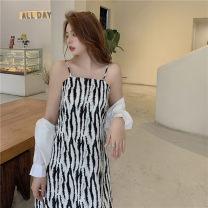 Dress Summer 2021 Sun shirt, black suspender skirt, apricot suspender skirt M [recommended 80-100 Jin], l [recommended 100-120 Jin], XL [120-140 Jin], 2XL [140-160 Jin recommended], 3XL [160-180 Jin recommended], 4XL [180-200 Jin recommended] Mid length dress Two piece set Sleeveless commute stripe