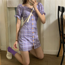Dress Summer 2021 Taro purple dress L (recommended 100-120 kg), XL (recommended 120-140 kg), 2XL (recommended 140-160 kg), 3XL (recommended 160-180 kg), 4XL (recommended 180-200 kg), s (recommended below 90 kg), m (recommended 90-100 kg) Short skirt singleton  Short sleeve commute square neck Retro