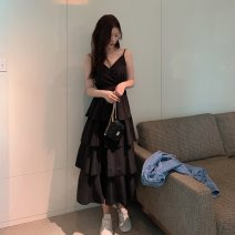 Dress Summer 2021 White, black M [recommended 80-100 Jin], l [recommended 100-120 Jin], XL [120-140 Jin], 2XL [140-160 Jin recommended], 3XL [160-180 Jin recommended], 4XL [180-200 Jin recommended] Mid length dress singleton  Sleeveless commute V-neck High waist Solid color