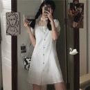 Dress Summer 2020 White, black S (less than 90 kg recommended), m (90-100 kg recommended), l (100-120 kg recommended), XL (120-140 kg recommended), 2XL (140-160 kg recommended), 3XL (160-180 kg recommended), 4XL (180-200 kg recommended) Short skirt singleton  Short sleeve commute square neck =3.25