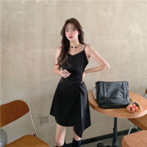 Dress Summer 2021 Apricot, black L,XL,2XL,3XL,4XL Miniskirt singleton  Short sleeve commute Half open collar middle-waisted Solid color Socket Princess Dress puff sleeve Oblique shoulder Type H Pleating 91% (inclusive) - 95% (inclusive) other other