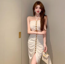 Dress Summer 2021 White, black Average size longuette singleton  Sleeveless commute High waist Solid color other camisole 18-24 years old Korean version 7592# 31% (inclusive) - 50% (inclusive)