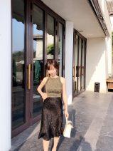 skirt Spring 2021 XS,S,M,L Black jacquard love Mid length dress grace High waist Fairy Dress Decor Type H 30-34 years old More than 95% Silk and satin silk