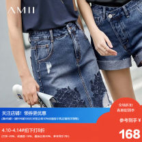 skirt Summer of 2019 170/76A/XL,160/68A/M,165/72A/L,.,155/64A/S Denim blue, description Short skirt street Natural waist A-line skirt other Type A 25-29 years old More than 95% Amii other Embroidery Europe and America