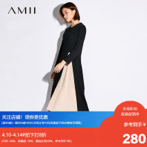 Dress Spring of 2018 Black, description, beige, black hit khaki Spare, 170 / 92a / XL, 160 / 84A / m, 150 / 76a / XS, 180 / 100A / XXXL, 165 / 88a / L, 175 / 96a / XXL, 155 / 80A / S Mid length dress other Long sleeves commute Crew neck middle-waisted Solid color other other routine Others Amii other