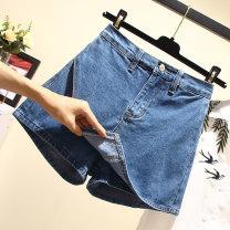 Women's large Summer 2021 blue L [100-120 Jin], XL [115-135 Jin], 2XL [140-160 Jin], 3XL [160-180 Jin], 4XL [180-200 Jin], M trousers singleton  commute easy thin Korean version Denim printing and dyeing Ocnltiy shorts