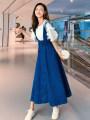 Dress Summer 2021 Denim blue S,M,L,XL,2XL,3XL,4XL,5XL Middle-skirt Two piece set elbow sleeve commute Crew neck Solid color Princess Dress Korean version Three dimensional decoration 91% (inclusive) - 95% (inclusive) Denim cotton