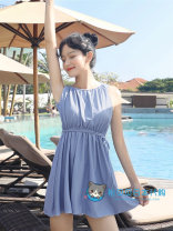 one piece  hapins M,L,XL A touch of grey blue Skirt one piece With chest pad without steel support female Sleeveless Casual swimsuit