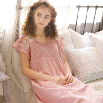 Nightdress ME JU Alice in red and white, Alice in black and white 155(S),160(M),165(L),170(XL) Sweet Short sleeve Leisure home Middle-skirt summer lattice youth V-neck cotton lace More than 95% pure cotton MS5129