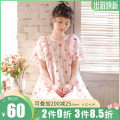 Nightdress ME JU Pink 155(S),160(M),165(L),170(XL) Sweet Short sleeve Leisure home Middle-skirt summer Plants and flowers youth Crew neck cotton lace More than 95% pure cotton MS5822