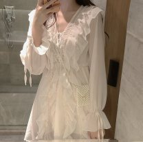 Dress Summer of 2019 White, black, apricot S,M,L,XL Middle-skirt singleton  Long sleeves commute V-neck High waist Solid color Socket Princess Dress other Others Type X Korean version 31% (inclusive) - 50% (inclusive) Chiffon