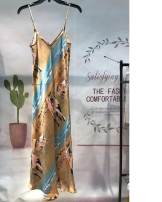 Dress Spring 2021 Whole horse, elephant and fish, Pink Paisley, little bee XS,S,M,L,XL Mid length dress singleton  street V-neck Animal design camisole More than 95% silk Europe and America