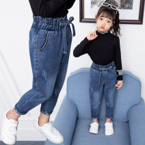 trousers Other / other female It is suggested that the height of 100cm, 110cm, 120cm, 130cm, 140cm and 150cm should be given priority spring and autumn trousers Korean version No model Jeans Leather belt middle-waisted Class B Baby children's pants