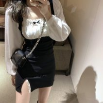 Dress Winter 2020 black M [recommended 90-100 kg], l [recommended 100-120 kg], XL [recommended 120-140 kg], 2XL [recommended 140-160 kg], 3XL [recommended 160-180 kg], 4XL [recommended 180-200 kg] Short skirt Fake two pieces Long sleeves commute square neck High waist Solid color Socket routine