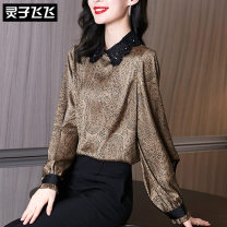 Lace / Chiffon Spring 2021 Maroon green S M L XL XXL Long sleeves commute Socket singleton  Self cultivation Regular Doll Collar Solid color bishop sleeve 35-39 years old Lingzi Feifei Ol style Polyester 100% Pure e-commerce (online only)