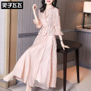 Dress Spring 2021 Pink S M L XL XXL longuette Two piece set three quarter sleeve commute tailored collar middle-waisted Solid color double-breasted Irregular skirt pagoda sleeve Others 35-39 years old Type X Lingzi Feifei Ol style LZ21Q020377 More than 95% polyester fiber Polyester 100%