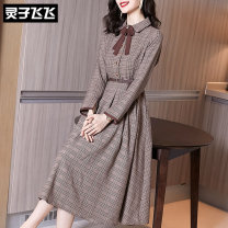 Dress Autumn 2020 coffee S M L XL XXL Mid length dress singleton  Long sleeves commute Doll Collar middle-waisted lattice Single breasted Big swing routine Others 35-39 years old Type X Lingzi Feifei Ol style LZ20Q070530 More than 95% other polyester fiber Polyester 100% Pure e-commerce (online only)