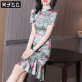 Dress Summer 2021 green S M L XL XXL Middle-skirt singleton  Short sleeve commute stand collar middle-waisted Big flower zipper Ruffle Skirt bishop sleeve Others 35-39 years old Type H Lingzi Feifei Ol style LZ21Q030337 More than 95% silk Mulberry silk 100% Pure e-commerce (online only)