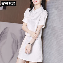 Dress Summer 2021 white S M L XL XXL Middle-skirt Two piece set Short sleeve commute Doll Collar middle-waisted Solid color Three buttons One pace skirt puff sleeve Others 35-39 years old Type X Lingzi Feifei Ol style LZ21Q030364 More than 95% polyester fiber Polyester 100%