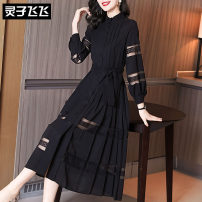 Dress Spring 2021 black S M L XL XXL longuette singleton  Long sleeves commute stand collar middle-waisted Solid color Single breasted A-line skirt bishop sleeve Others 35-39 years old Type X Lingzi Feifei Ol style LZ21Q010267 More than 95% Chiffon polyester fiber Polyester 100%