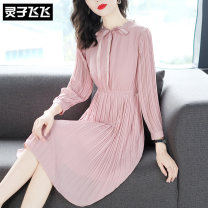 Dress Spring of 2019 Pink S M L XL Mid length dress singleton  Long sleeves street stand collar middle-waisted Solid color Single breasted Pleated skirt shirt sleeve Others 35-39 years old Type X Lingzi Feifei LZ19Q010324 More than 95% Chiffon polyester fiber Polyester 100% Europe and America