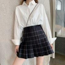 skirt Summer of 2019 M,L,XL,2XL,3XL,4XL black Short skirt commute High waist Pleated skirt lattice Type A other other Three dimensional decoration, zipper Korean version