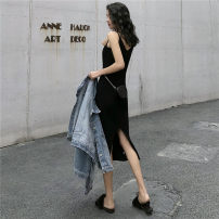 Dress Autumn 2020 Gray, black Average size longuette singleton  Sleeveless commute V-neck High waist Solid color Socket One pace skirt camisole 18-24 years old Type H Other / other Korean version 4608# 91% (inclusive) - 95% (inclusive) knitting cotton