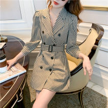 Dress Winter 2020 lattice S,M,L,XL Short skirt singleton  Long sleeves commute tailored collar High waist lattice other A-line skirt routine 25-29 years old Type A Korean version 71% (inclusive) - 80% (inclusive)