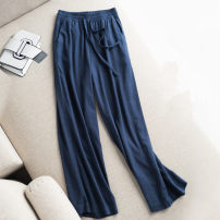 Casual pants Blue pants, sky white, dark black, apricot pants M [recommended under 105 kg], l [recommended 105-120 kg], XL [recommended 120-135 kg], 2XL [recommended 135-150 kg], 3XL [recommended 150-165 kg] Spring 2021 trousers Wide leg pants High waist original routine Other / other cotton pocket