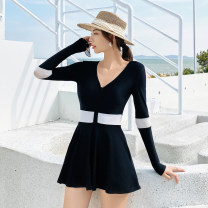 one piece  Lu girl (outdoor sports) M L XL XXL black Skirt one piece With chest pad without steel support Spring 2021 female Long sleeves Casual swimsuit other Lotus leaf edge