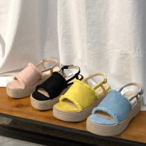 Sandals 35 36 37 38 39 40 Yellow light blue black pink Other / other cloth Barefoot Muffin bottom Middle heel (3-5cm) Summer of 2018 Sweet Solid color