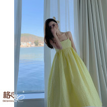 Dress Spring 2021 yellow S M L longuette singleton  Sleeveless Sweet One word collar High waist Solid color Socket A-line skirt routine camisole 18-24 years old Type A format Open back zipper GS21-H345053 More than 95% polyester fiber Polyester 100% princess Exclusive payment of tmall