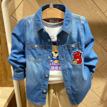 shirt Pre sale of Hooded blue denim shirt, 3D bear denim shirt, letter blue denim shirt, b letter blue denim shirt, with long sleeve yellow inside, long sleeve blue inside, long sleeve red inside and khaki pants inside Other / other male 110cm,120cm,130cm,140cm,150cm Long sleeves other cotton