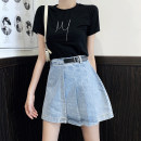 Women's large Summer 2020 Denim skirt L suggests 100-120 Jin, XL suggests 120-140 Jin, XXL suggests 140-160 Jin, 3XL suggests 160-180 Jin, 4XL suggests 180-200 Jin skirt singleton  commute easy Socket Solid color, others Korean version Three dimensional cutting 18-24 years old Short skirt