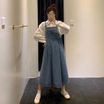 Women's large Spring 2020 Strapless skirt Large XL, large XXL, large XXL, large XXXXL, large L Dress singleton  commute easy moderate Korean version Medium length printing and dyeing Medium length