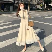 Dress Autumn 2020 Rice white long skirt, black long skirt, rice white short skirt, black short skirt M [90-100 Jin], l [100-120 Jin], XL [120-140 Jin], 2XL [140-160 Jin], 3XL [160-180 Jin], 4XL [180-200 Jin], s [80-90 Jin] longuette singleton  Long sleeves commute V-neck High waist Solid color Socket