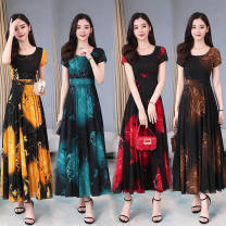 Dress Spring 2021 Brown, red, blue, yellow M,L,XL,2XL,3XL longuette singleton  Sweet Crew neck Chloroprene Bohemia
