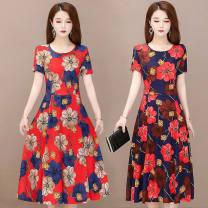 Dress Spring 2021 Red flowers, blue flowers M,L,XL,2XL,3XL