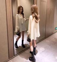 Dress Autumn 2020 Apricot M,L,XL,2XL,3XL,4XL Miniskirt other Short sleeve commute other Solid color other other Others Type A 31% (inclusive) - 50% (inclusive) other